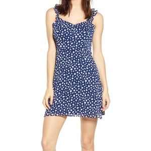All in Favor Blue and White Pattern Dress